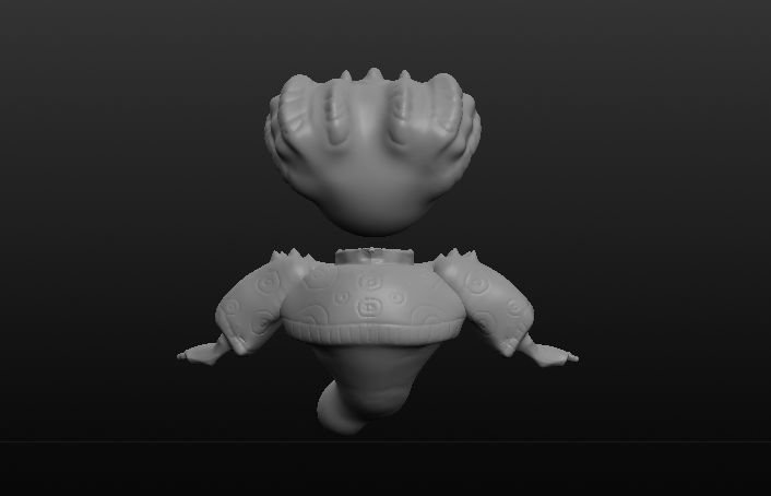 3D Sculpted Creature - Back (Created in Sculptris)