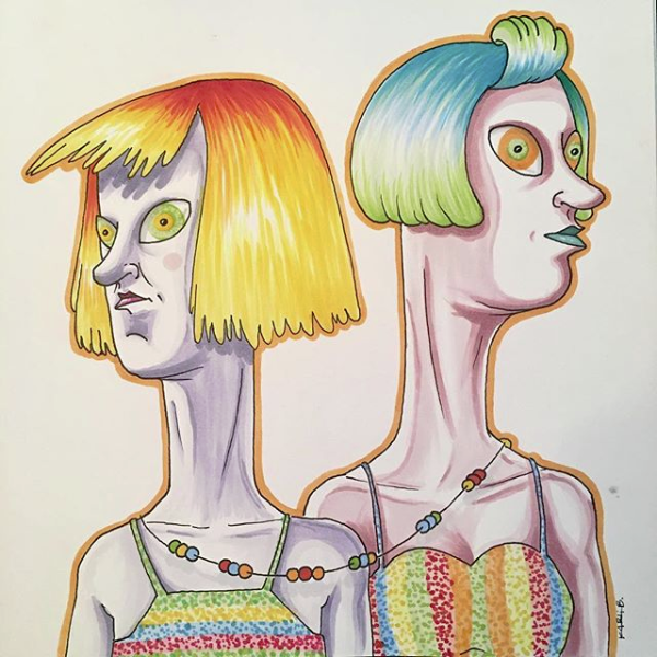 Rainbow Twins - Copic Marker on paper